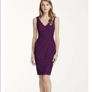 DAVIDS BRIDAL Short Tank Lace Dress, Size 12